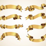 無料ダウンロードできる金色リボンのベクター素材